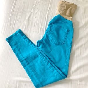 High waist turquoise stretch denim maternity pants